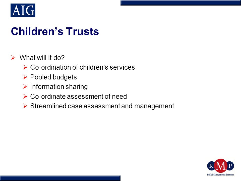 Children's Trusts  What will it do.