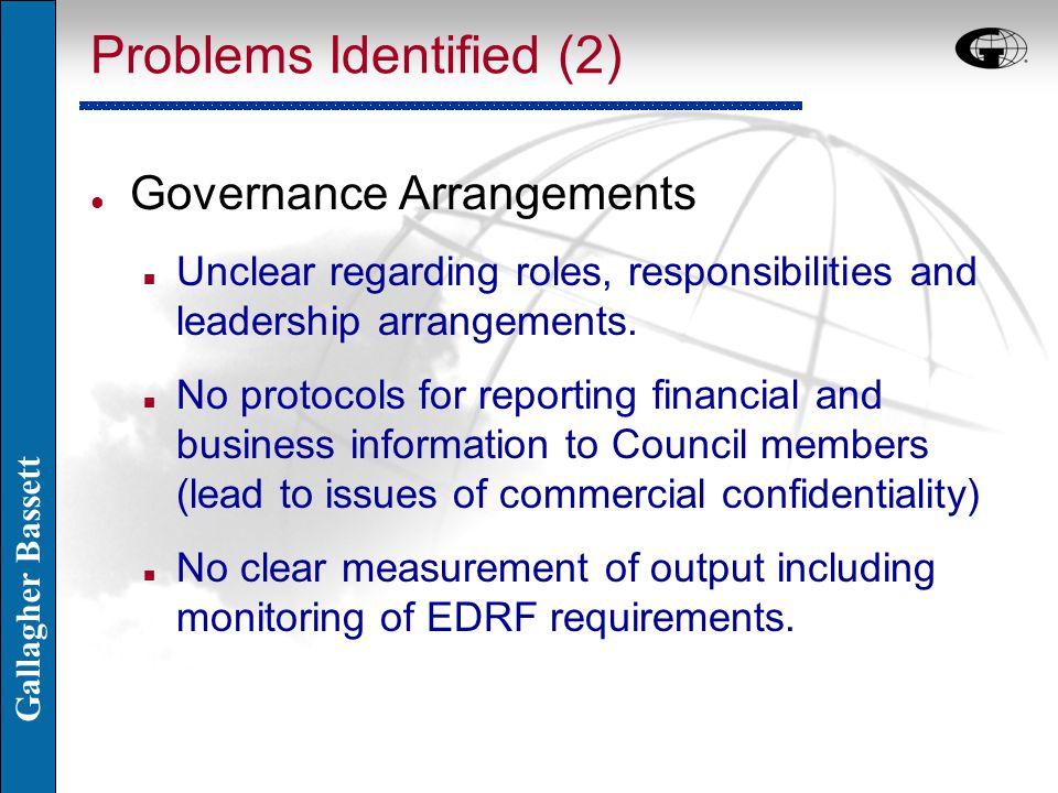 Gallagher Bassett Problems Identified (2) l Governance Arrangements n Unclear regarding roles, responsibilities and leadership arrangements. n No prot