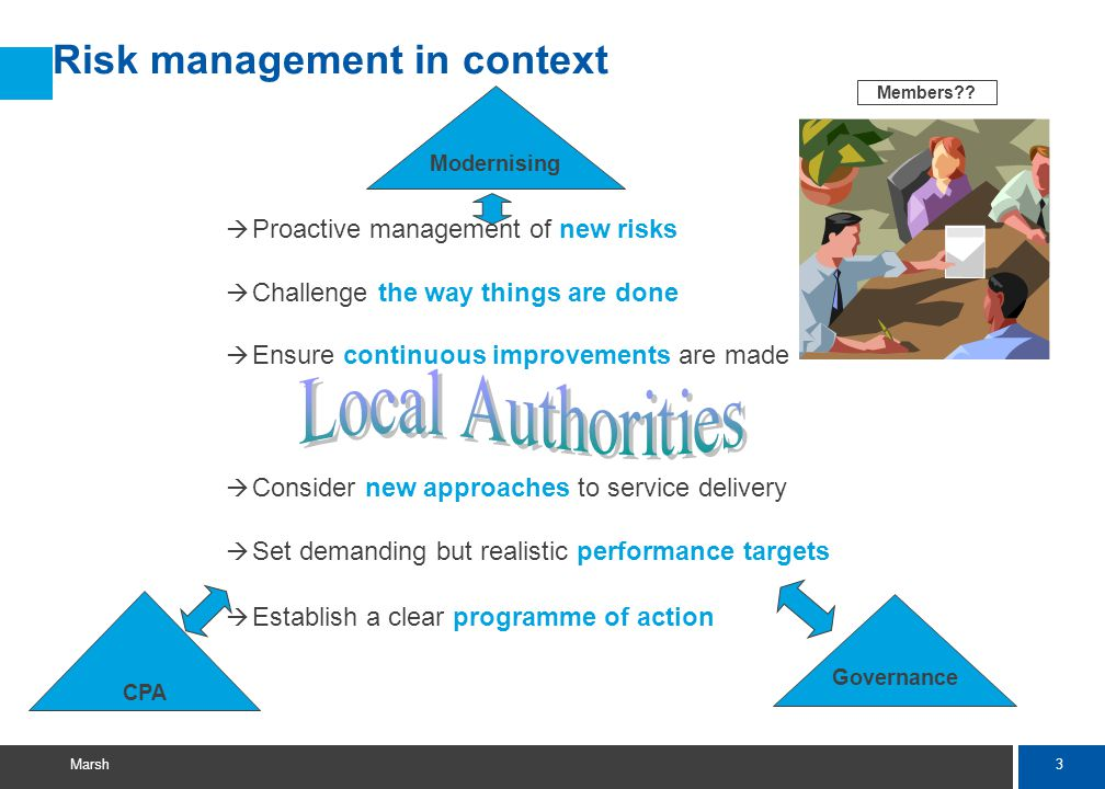 3 Marsh Modernising CPA Risk management in context Governance à Proactive management of new risks à Challenge the way things are done à Ensure continuous improvements are made à Consider new approaches to service delivery à Set demanding but realistic performance targets à Establish a clear programme of action Members