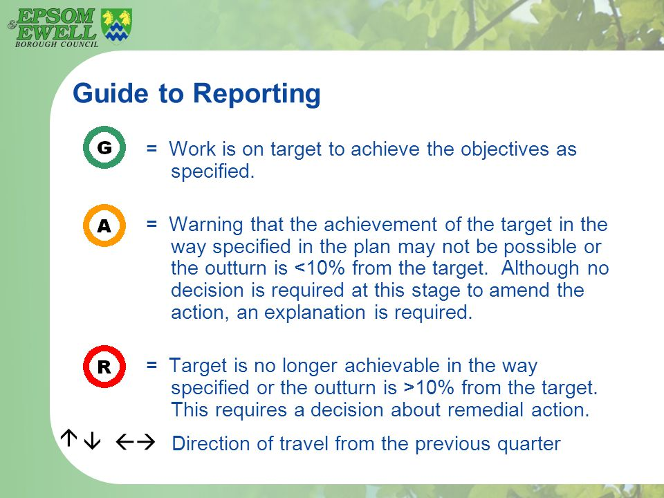 Guide to Reporting = Work is on target to achieve the objectives as specified.
