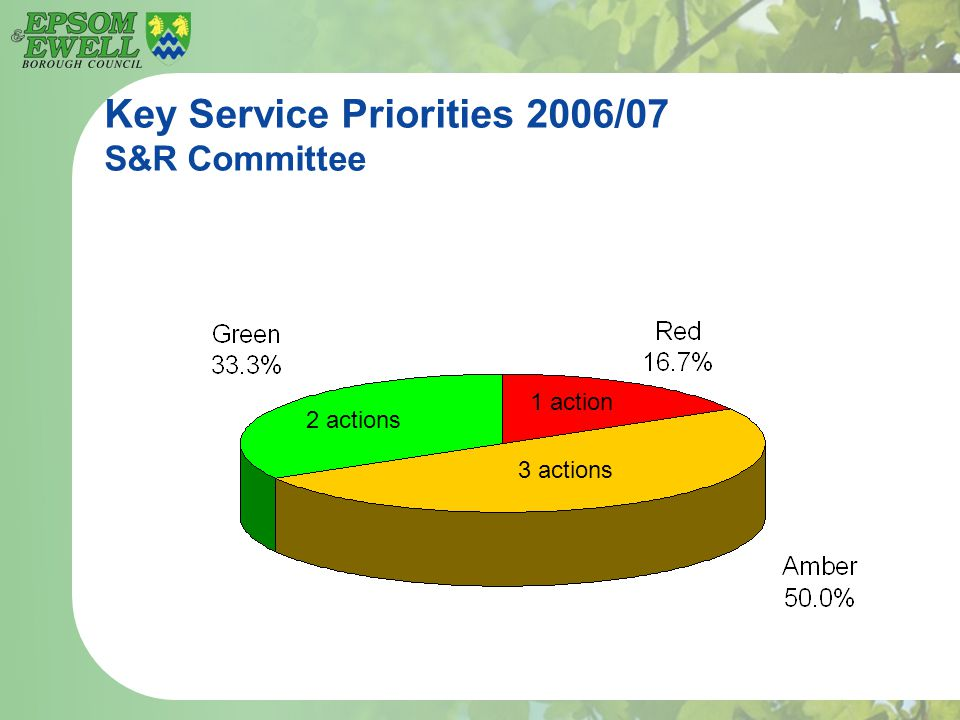 Key Service Priorities 2006/07 S&R Committee 2 actions 3 actions 1 action
