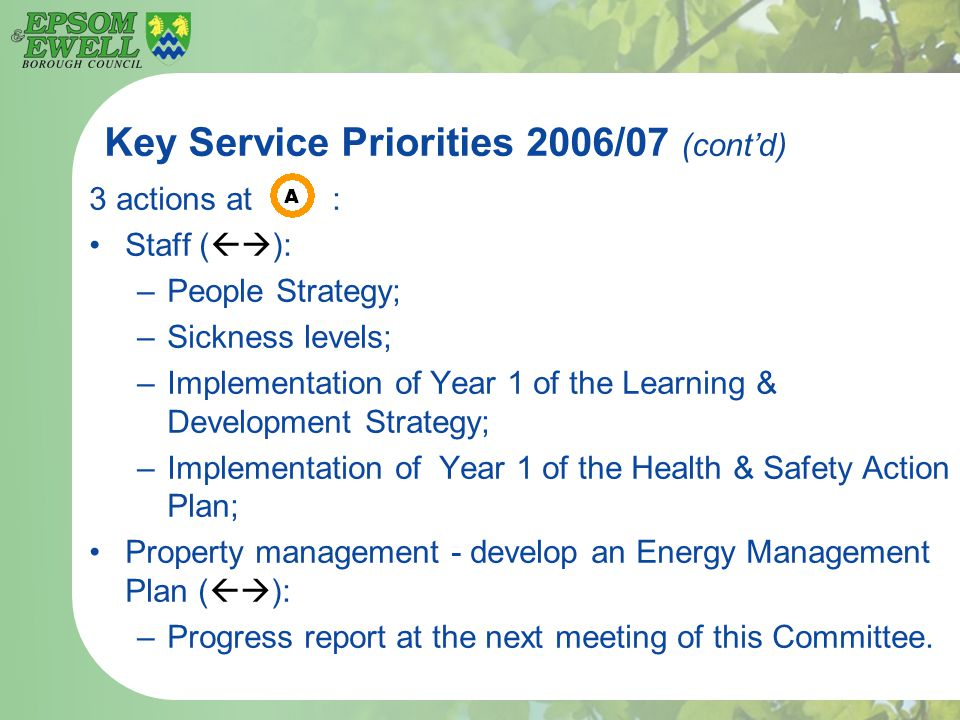 Key Service Priorities 2006/07 (cont'd) 3 actions at : Staff (  ): –People Strategy; –Sickness levels; –Implementation of Year 1 of the Learning & Development Strategy; –Implementation of Year 1 of the Health & Safety Action Plan; Property management - develop an Energy Management Plan (  ): –Progress report at the next meeting of this Committee.