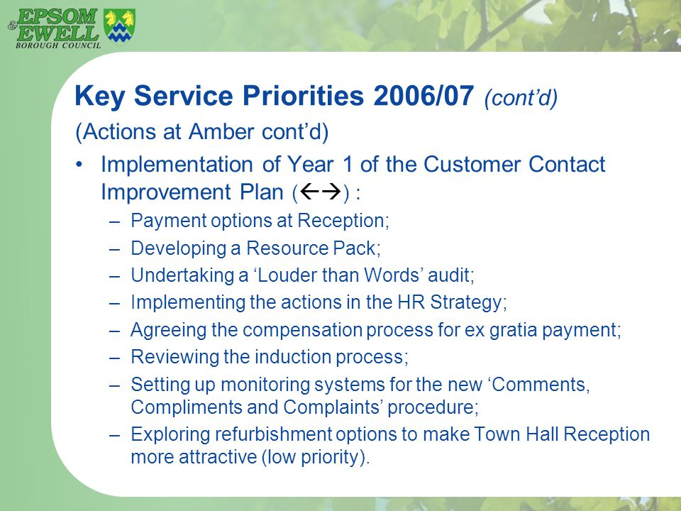 Key Service Priorities 2006/07 (cont'd) (Actions at Amber cont'd) Implementation of Year 1 of the Customer Contact Improvement Plan (  ) : –Payment options at Reception; –Developing a Resource Pack; –Undertaking a 'Louder than Words' audit; –Implementing the actions in the HR Strategy; –Agreeing the compensation process for ex gratia payment; –Reviewing the induction process; –Setting up monitoring systems for the new 'Comments, Compliments and Complaints' procedure; –Exploring refurbishment options to make Town Hall Reception more attractive (low priority).