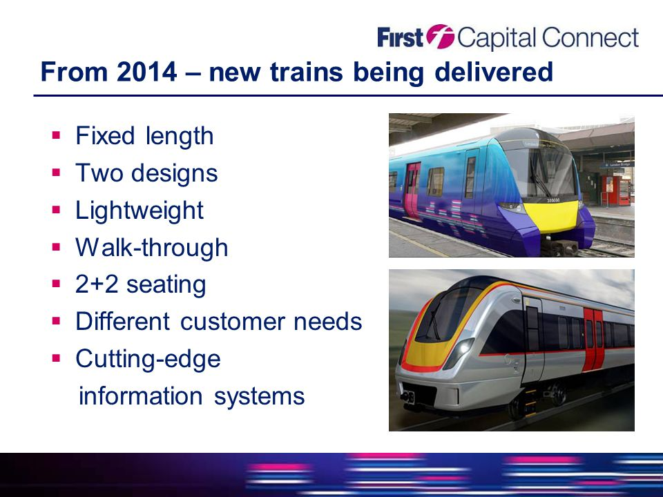 From 2014 – new trains being delivered  Fixed length  Two designs  Lightweight  Walk-through  2+2 seating  Different customer needs  Cutting-edge information systems