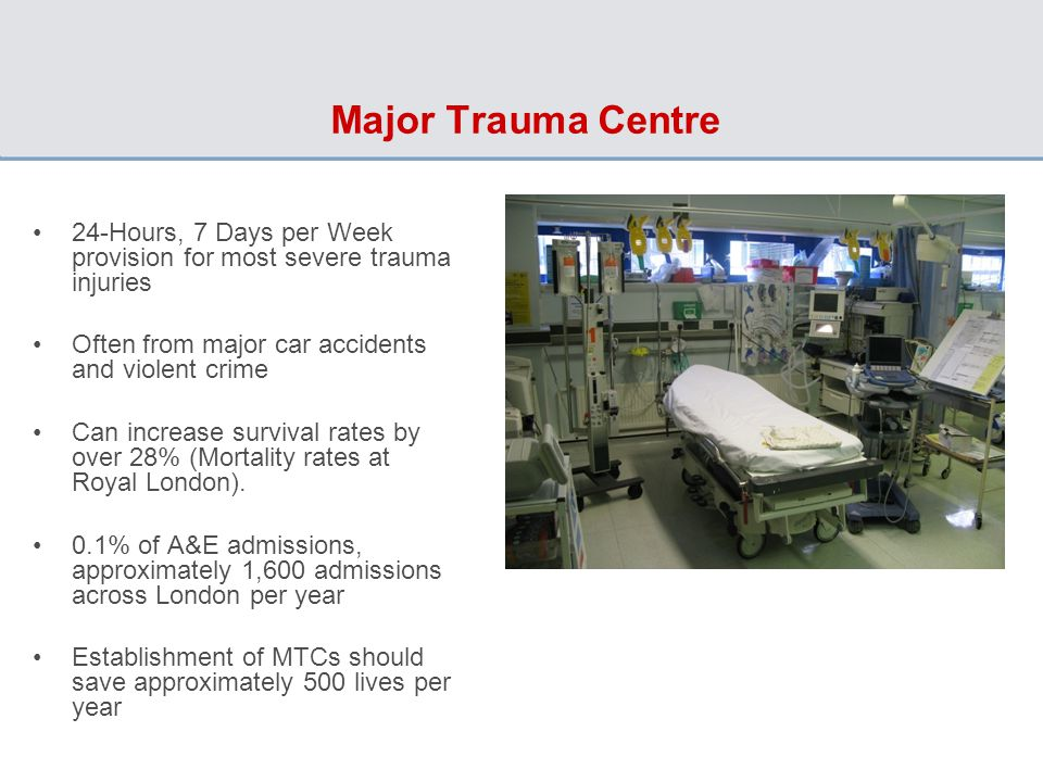 Major Trauma Centre 24-Hours, 7 Days per Week provision for most severe trauma injuries Often from major car accidents and violent crime Can increase