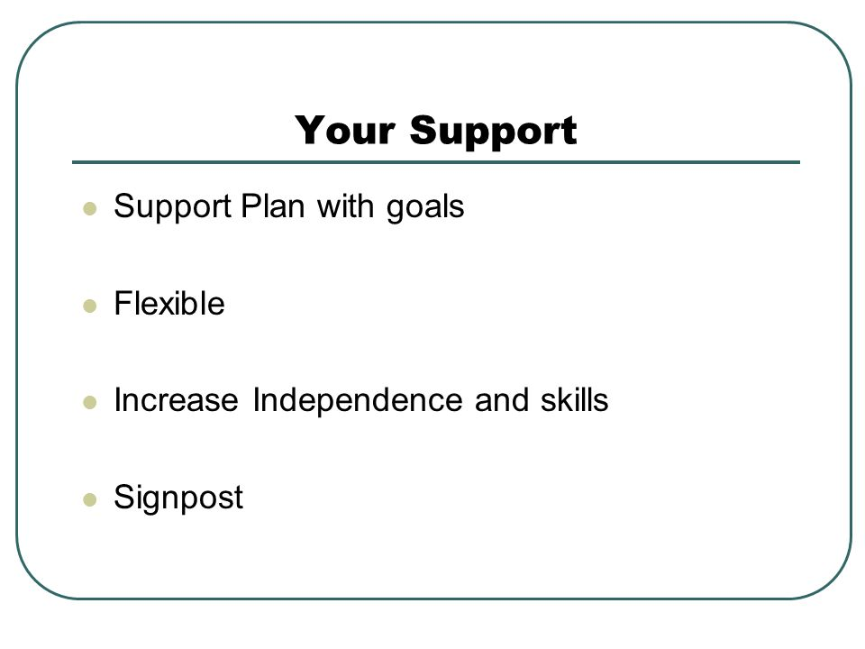 Your Support Support Plan with goals Flexible Increase Independence and skills Signpost