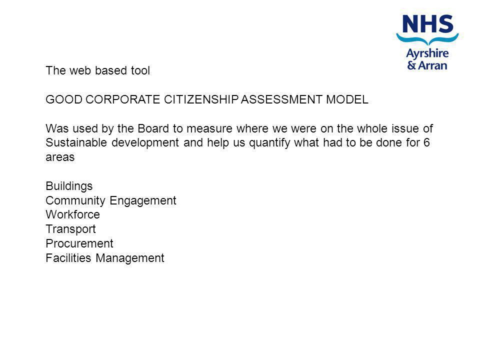 The web based tool GOOD CORPORATE CITIZENSHIP ASSESSMENT MODEL Was used by the Board to measure where we were on the whole issue of Sustainable development and help us quantify what had to be done for 6 areas Buildings Community Engagement Workforce Transport Procurement Facilities Management