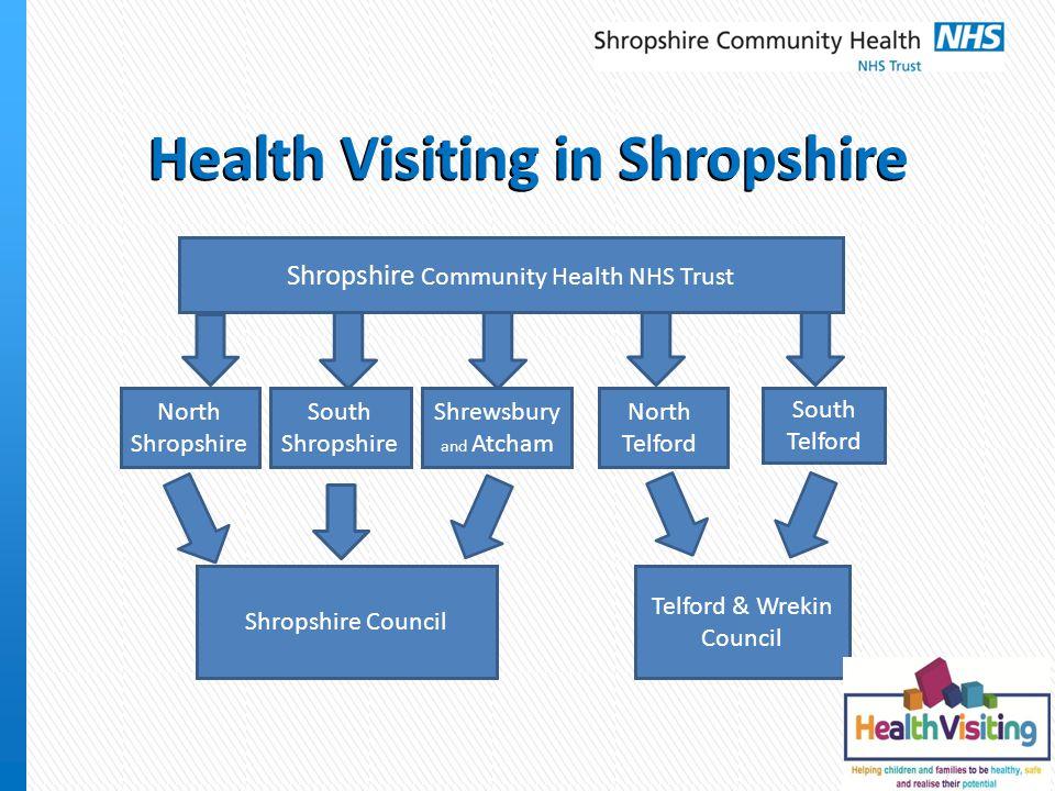 Health Visiting in Shropshire Shropshire Community Health NHS Trust North Shropshire South Shropshire Shrewsbury and Atcham North Telford South Telford Shropshire Council Telford & Wrekin Council