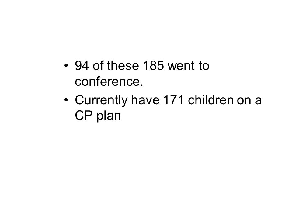 94 of these 185 went to conference. Currently have 171 children on a CP plan
