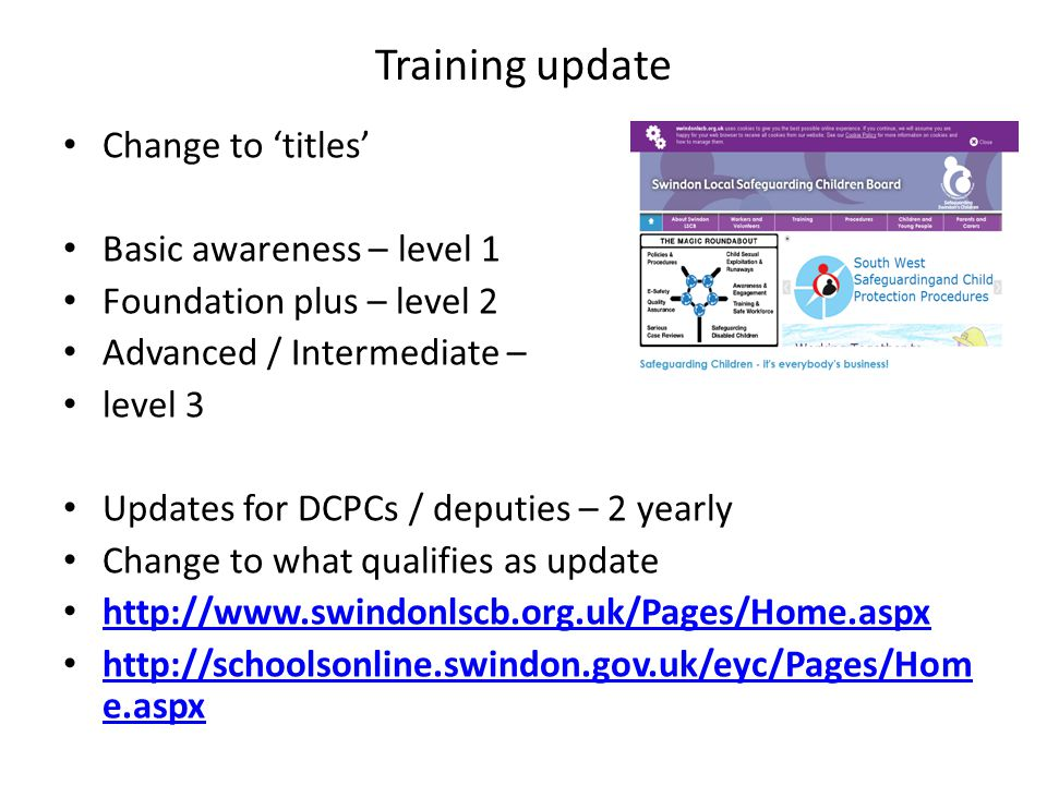Training update Change to 'titles' Basic awareness – level 1 Foundation plus – level 2 Advanced / Intermediate – level 3 Updates for DCPCs / deputies