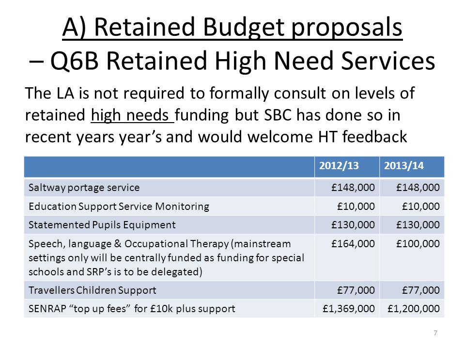 A) Retained Budget Proposals - SENRAP Top up fees.