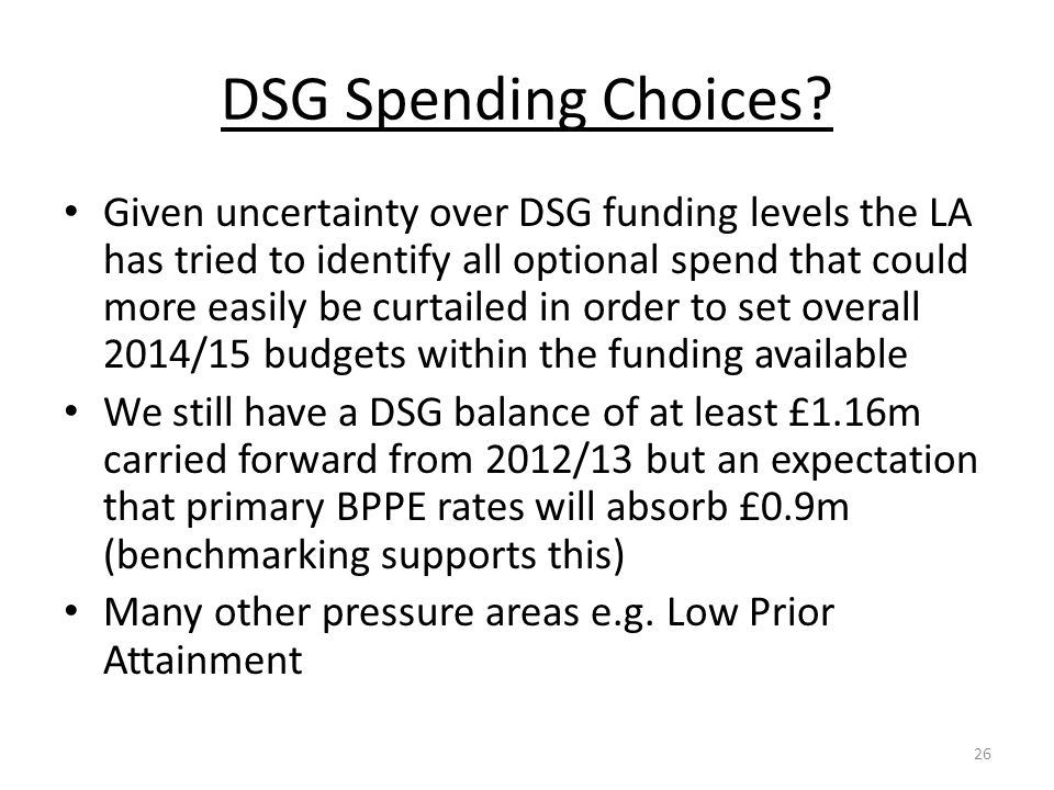 DSG Spending Choices? Given uncertainty over DSG funding levels the LA has tried to identify all optional spend that could more easily be curtailed in