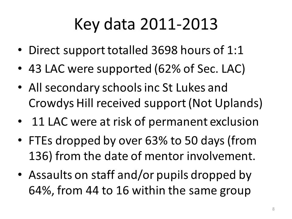 Key data 2011-2013 Direct support totalled 3698 hours of 1:1 43 LAC were supported (62% of Sec. LAC) All secondary schools inc St Lukes and Crowdys Hi