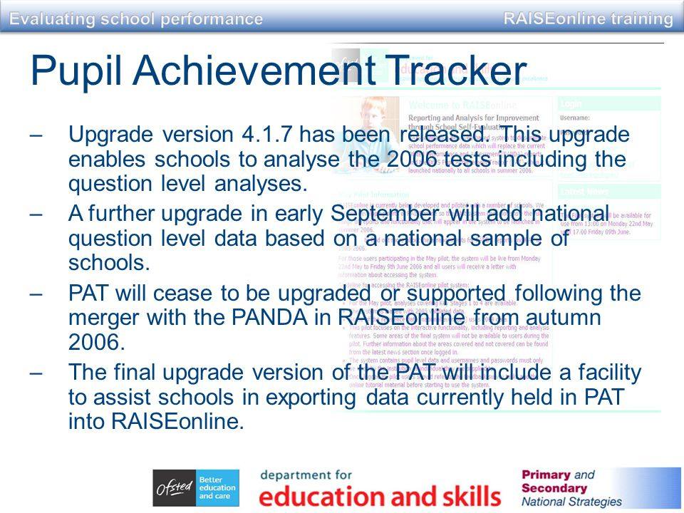 Pupil Achievement Tracker –Upgrade version 4.1.7 has been released.