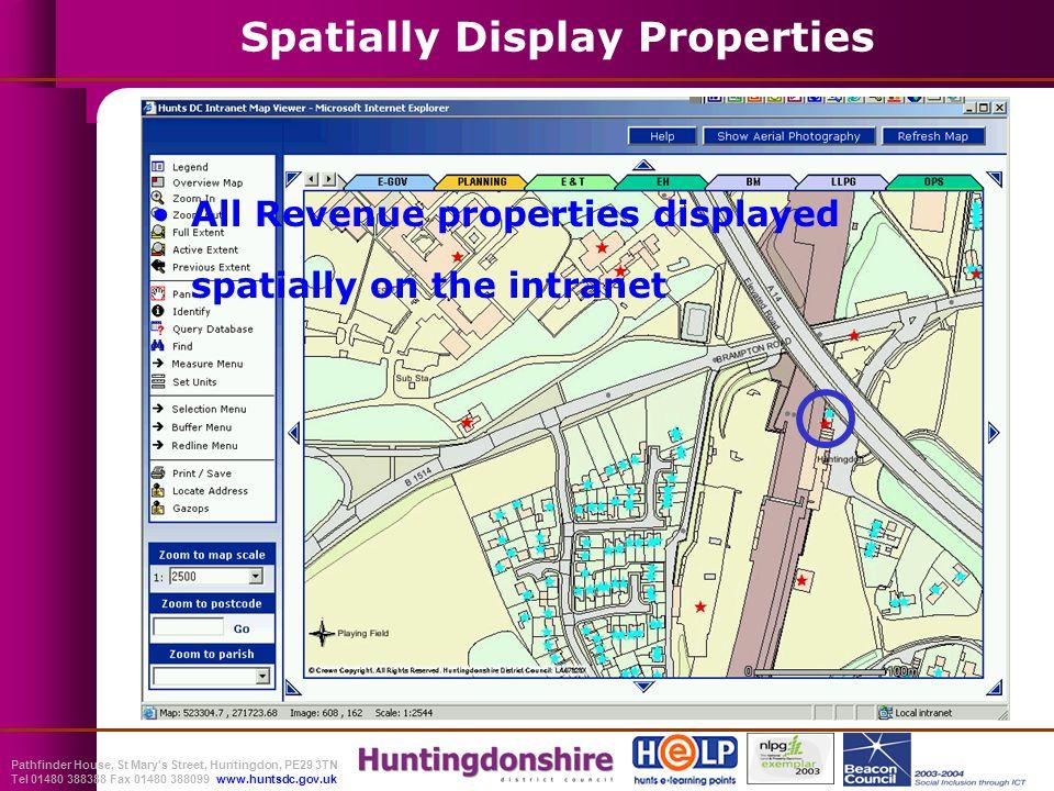 Pathfinder House, St Mary s Street, Huntingdon, PE29 3TN Tel 01480 388388 Fax 01480 388099 www.huntsdc.gov.uk All Revenue properties displayed spatially on the intranet Spatially Display Properties