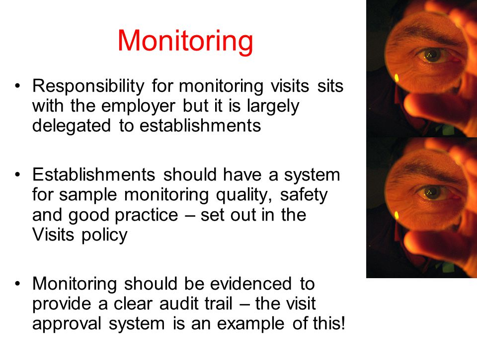 Monitoring Responsibility for monitoring visits sits with the employer but it is largely delegated to establishments Establishments should have a system for sample monitoring quality, safety and good practice – set out in the Visits policy Monitoring should be evidenced to provide a clear audit trail – the visit approval system is an example of this!