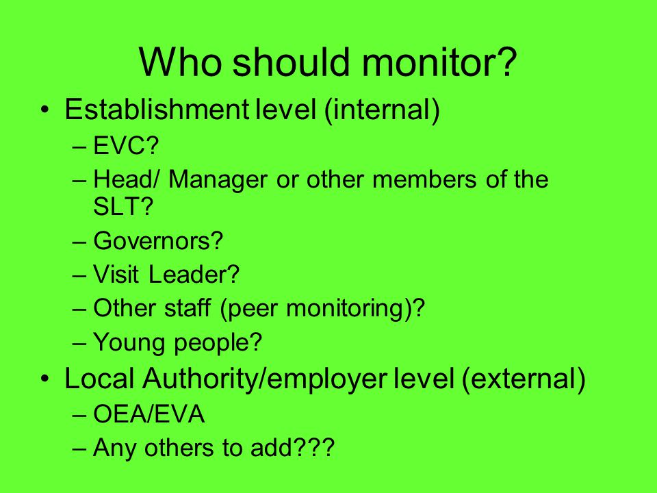 Who should monitor? Establishment level (internal) –EVC? –Head/ Manager or other members of the SLT? –Governors? –Visit Leader? –Other staff (peer mon