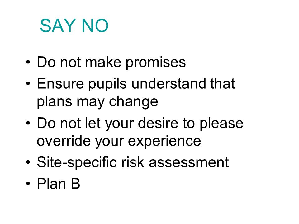 SAY NO Do not make promises Ensure pupils understand that plans may change Do not let your desire to please override your experience Site-specific risk assessment Plan B