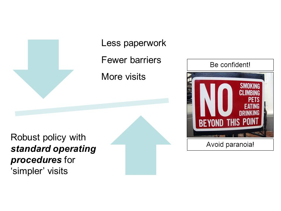 Less Paperwork Fewer barriers More LOtC Robust & Comprehensive Policy covering Level One LOtC Activities Be confident! Avoid paranoia! Less paperwork