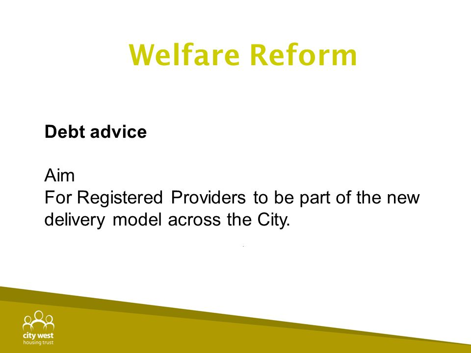 Debt advice Aim For Registered Providers to be part of the new delivery model across the City.. Welfare Reform