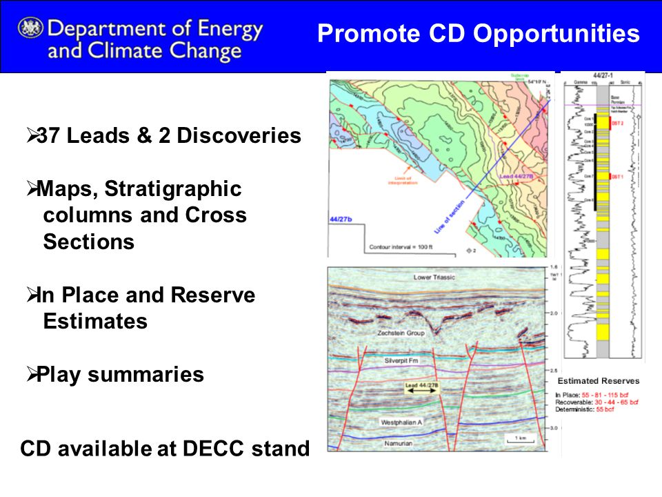 Promote CD Opportunities  37 Leads & 2 Discoveries  Maps, Stratigraphic columns and Cross Sections  In Place and Reserve Estimates  Play summaries CD available at DECC stand