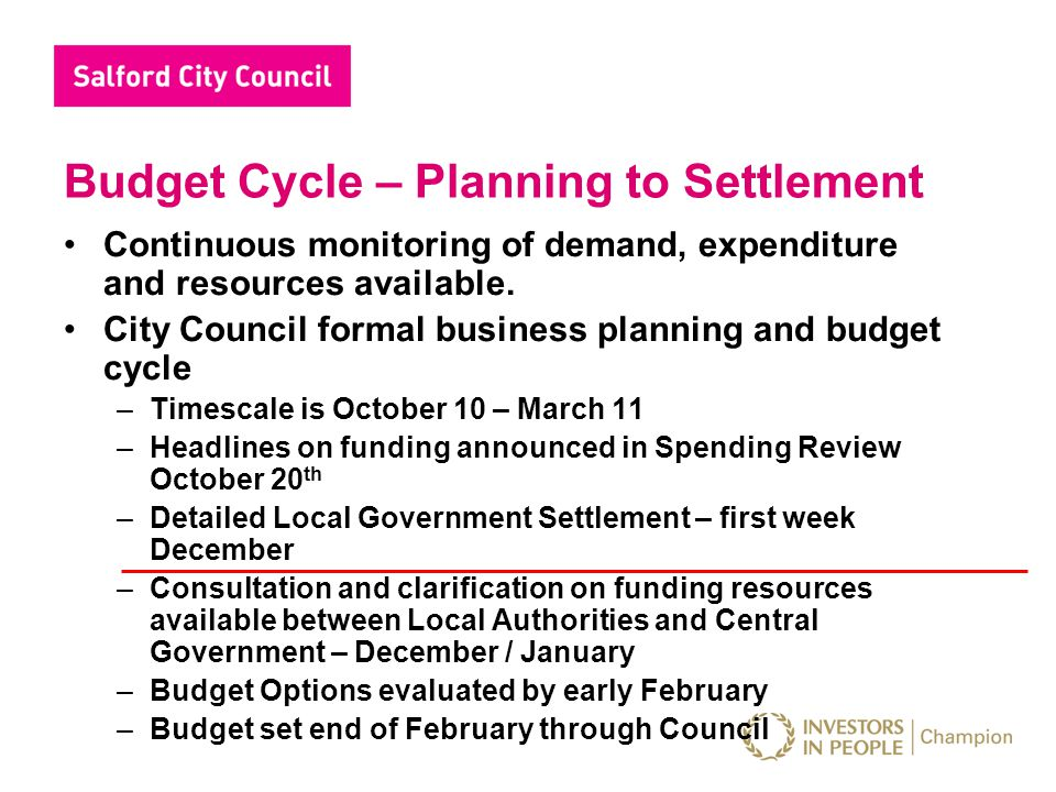 Budget Cycle – Planning to Settlement Continuous monitoring of demand, expenditure and resources available. City Council formal business planning and