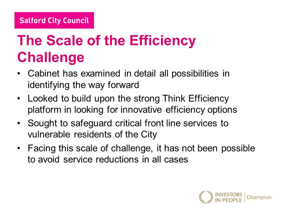 Salford City Council – Savings 2011/12 Key themes of our approach 1.Workforce reform 2.Income generation 3.Budget adjustments 4.Collaboration 5.Property 6.Service / policy redesign 7.Service reduction