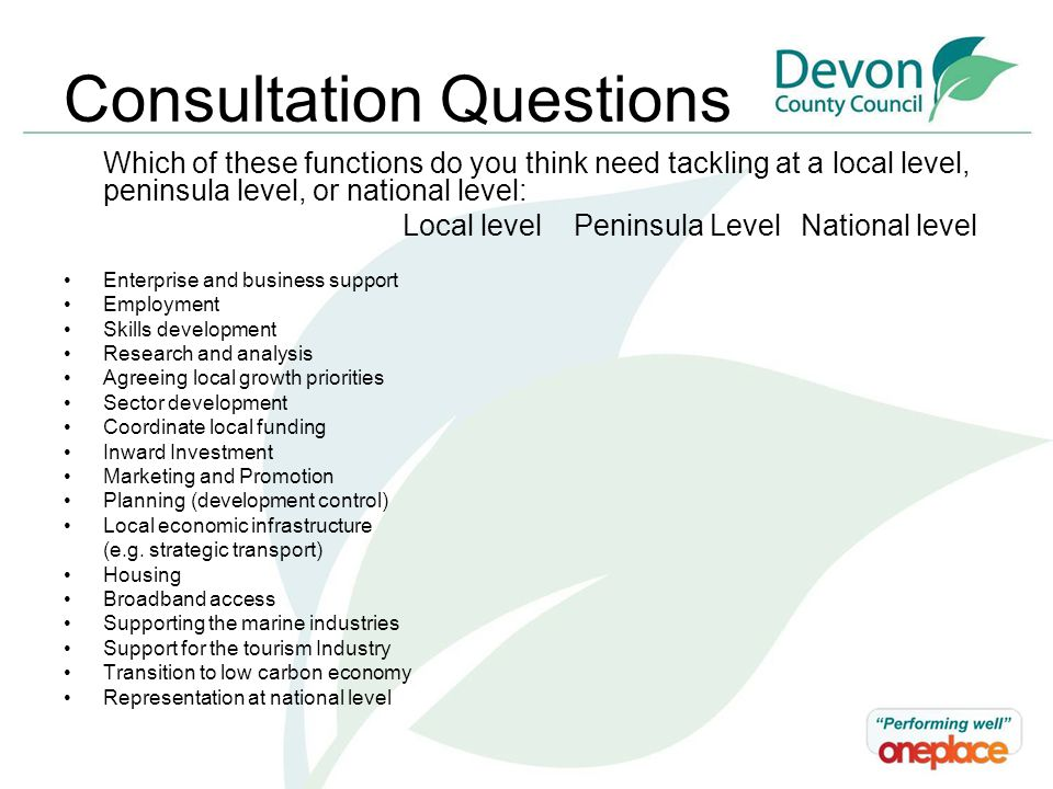 Consultation Questions Which of these functions do you think need tackling at a local level, peninsula level, or national level: Local level Peninsula Level National level Enterprise and business support Employment Skills development Research and analysis Agreeing local growth priorities Sector development Coordinate local funding Inward Investment Marketing and Promotion Planning (development control) Local economic infrastructure (e.g.