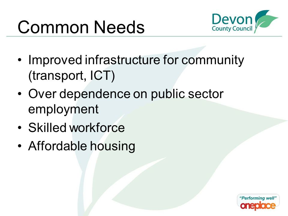 Common Needs Improved infrastructure for community (transport, ICT) Over dependence on public sector employment Skilled workforce Affordable housing