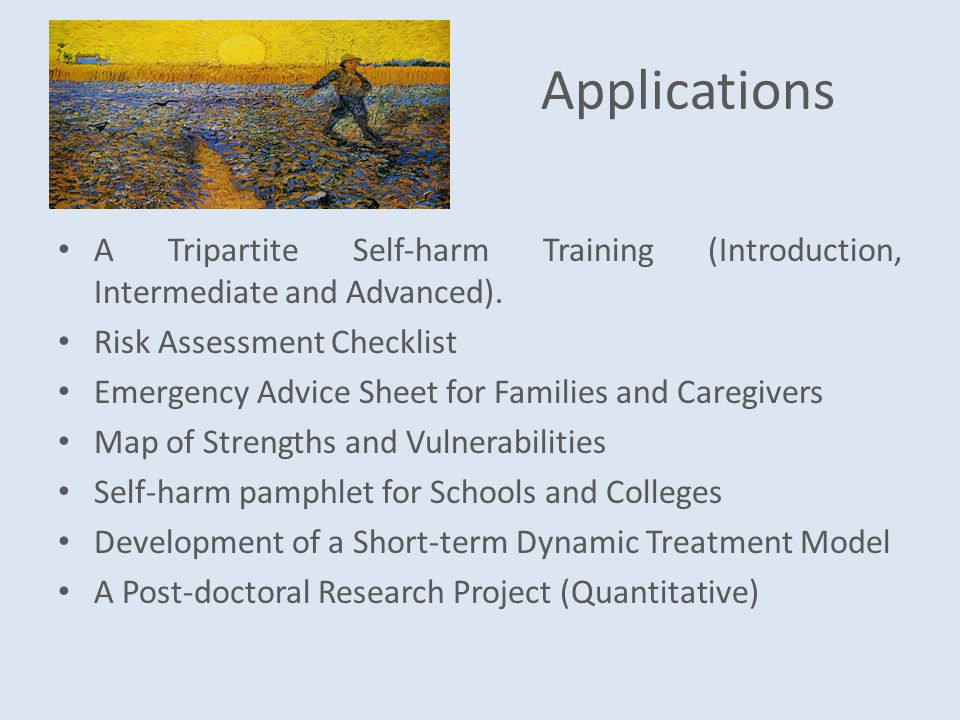 Applications A Tripartite Self-harm Training (Introduction, Intermediate and Advanced).