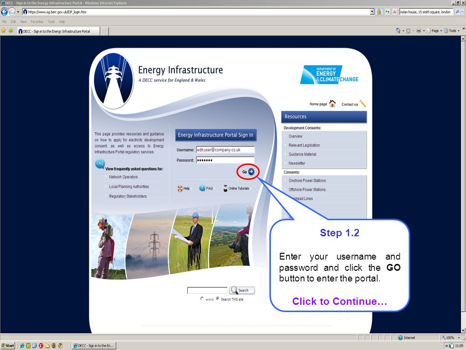 Step 1.2 Enter your username and password and click the GO button to enter the portal.
