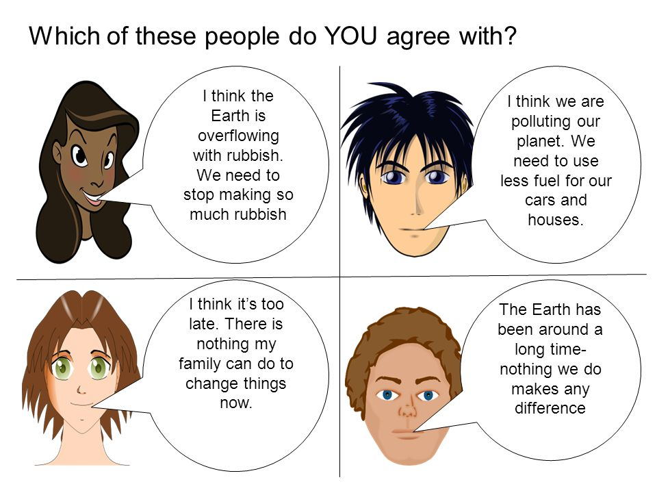 Which of these people do YOU agree with. I think the Earth is overflowing with rubbish.
