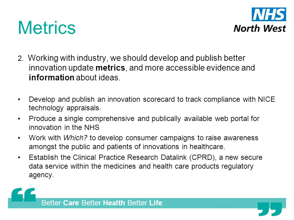 Better Care Better Health Better Life Metrics 2.