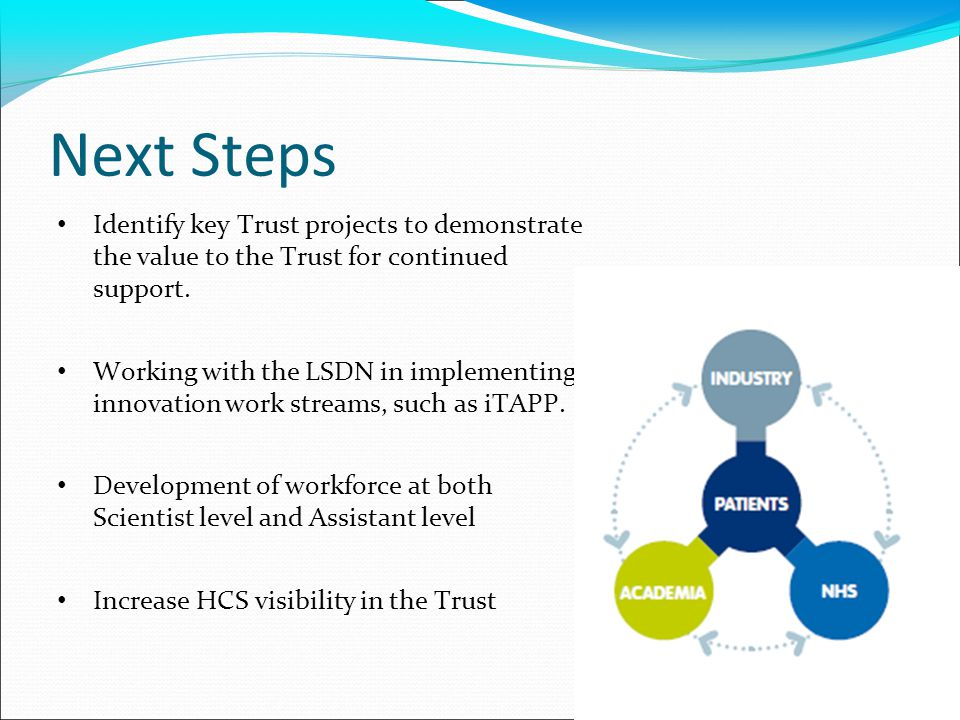Next Steps Identify key Trust projects to demonstrate the value to the Trust for continued support. Working with the LSDN in implementing innovation w