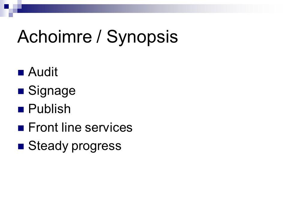 Achoimre / Synopsis Audit Signage Publish Front line services Steady progress