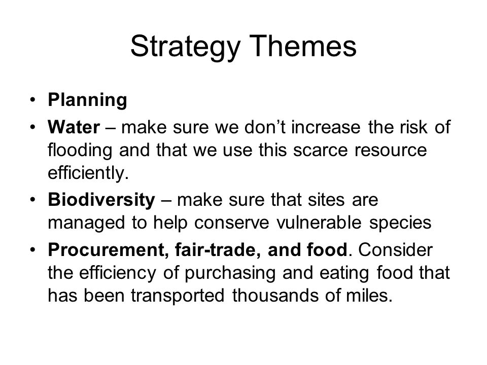 Strategy Themes Planning Water – make sure we don't increase the risk of flooding and that we use this scarce resource efficiently. Biodiversity – mak