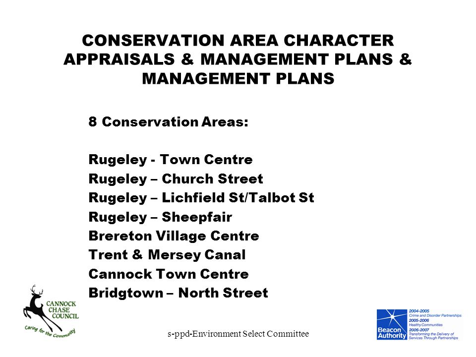 s-ppd-Environment Select Committee CONSERVATION AREA CHARACTER APPRAISALS & MANAGEMENT PLANS & MANAGEMENT PLANS 8 Conservation Areas: Rugeley - Town C