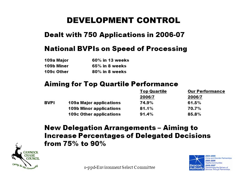 s-ppd-Environment Select Committee DEVELOPMENT CONTROL Dealt with 750 Applications in 2006-07 National BVPIs on Speed of Processing 109a Major60% in 1