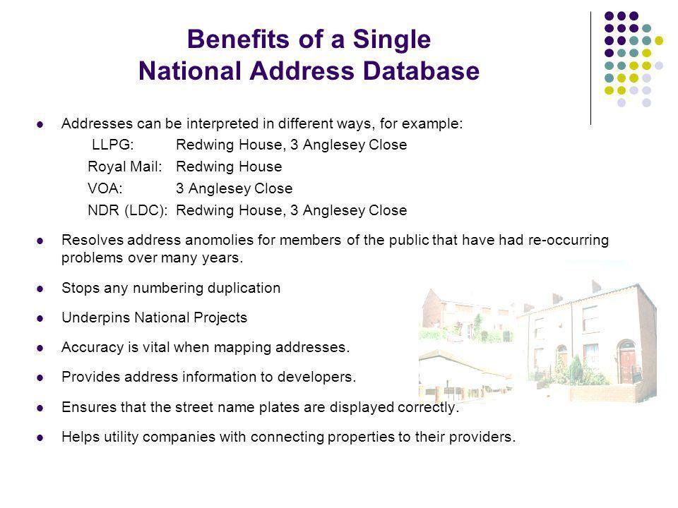 Benefits of a Single National Address Database Addresses can be interpreted in different ways, for example: LLPG: Redwing House, 3 Anglesey Close Royal Mail: Redwing House VOA: 3 Anglesey Close NDR (LDC): Redwing House, 3 Anglesey Close Resolves address anomolies for members of the public that have had re-occurring problems over many years.
