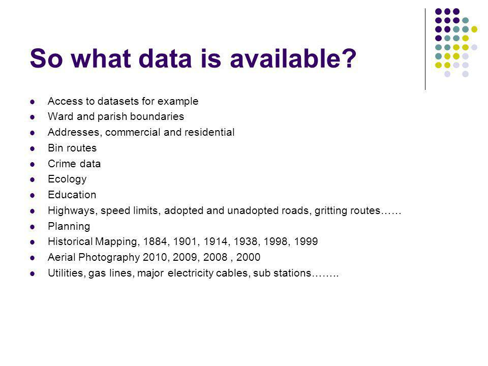 So what data is available.
