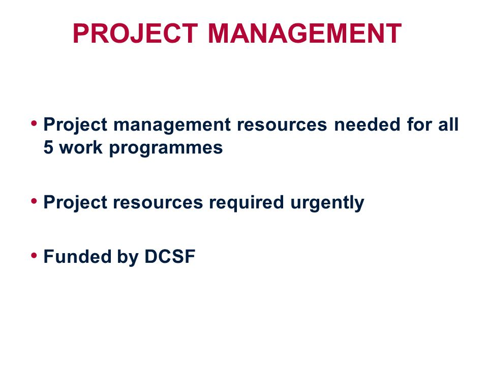 PROJECT MANAGEMENT Project management resources needed for all 5 work programmes Project resources required urgently Funded by DCSF