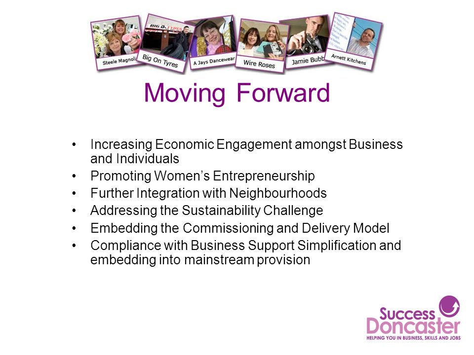 Moving Forward Increasing Economic Engagement amongst Business and Individuals Promoting Women's Entrepreneurship Further Integration with Neighbourho