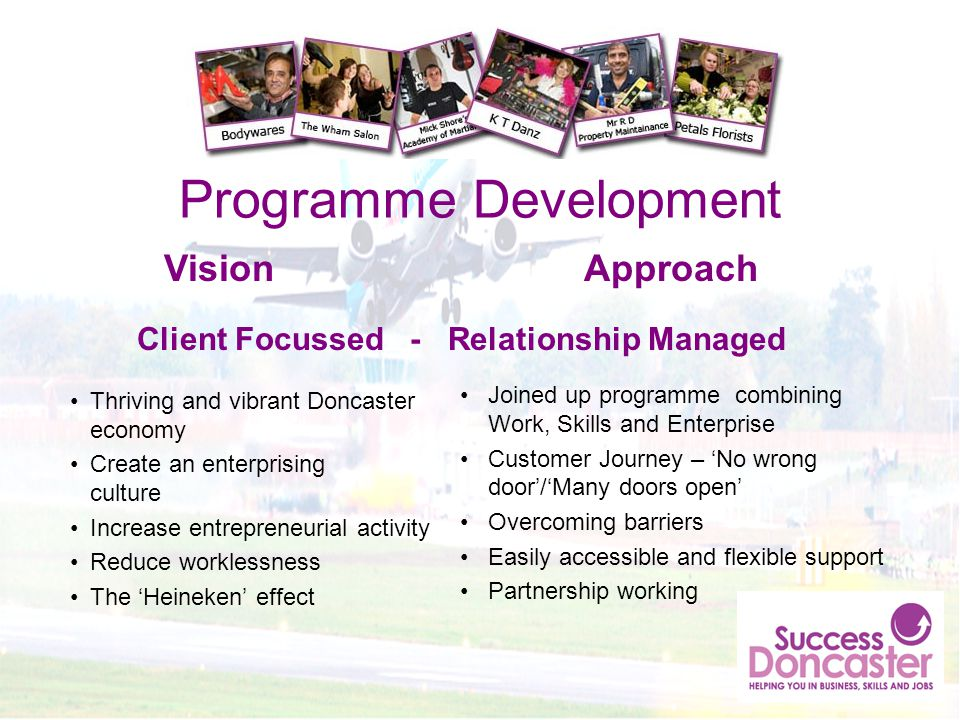 Programme Development Thriving and vibrant Doncaster economy Create an enterprising culture Increase entrepreneurial activity Reduce worklessness The