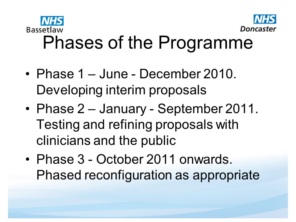 Phases of the Programme Phase 1 – June - December 2010.