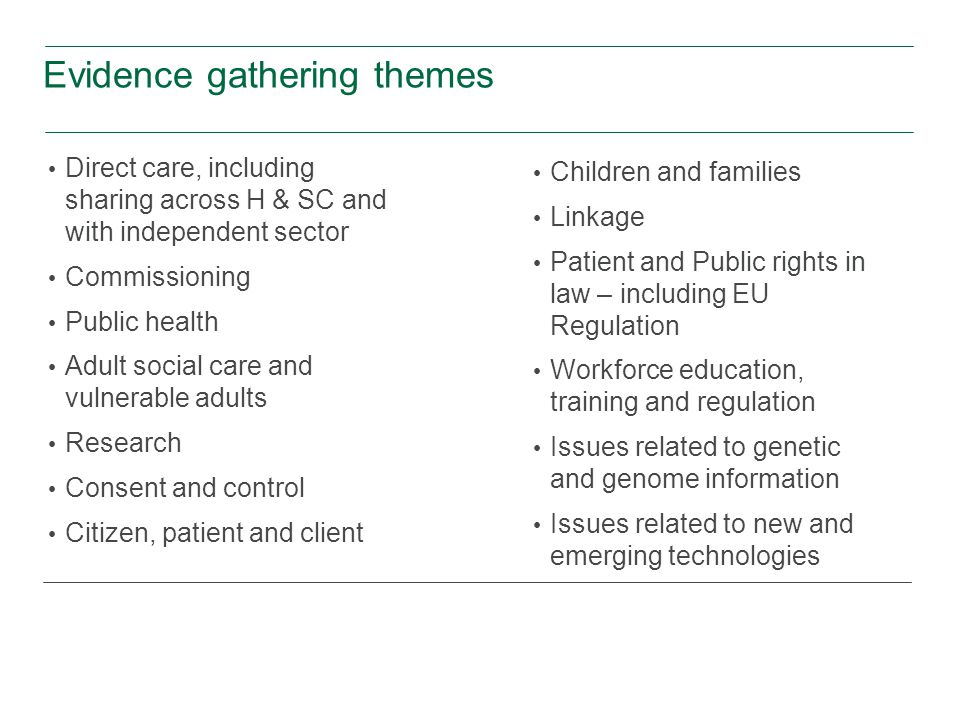 Evidence gathering themes Direct care, including sharing across H & SC and with independent sector Commissioning Public health Adult social care and vulnerable adults Research Consent and control Citizen, patient and client Children and families Linkage Patient and Public rights in law – including EU Regulation Workforce education, training and regulation Issues related to genetic and genome information Issues related to new and emerging technologies