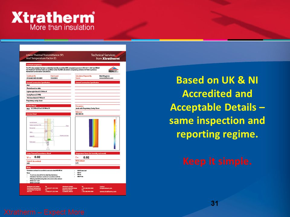 31 Xtratherm Accredited Detailing Based on UK & NI Accredited and Acceptable Details – same inspection and reporting regime. Keep it simple. Xtratherm