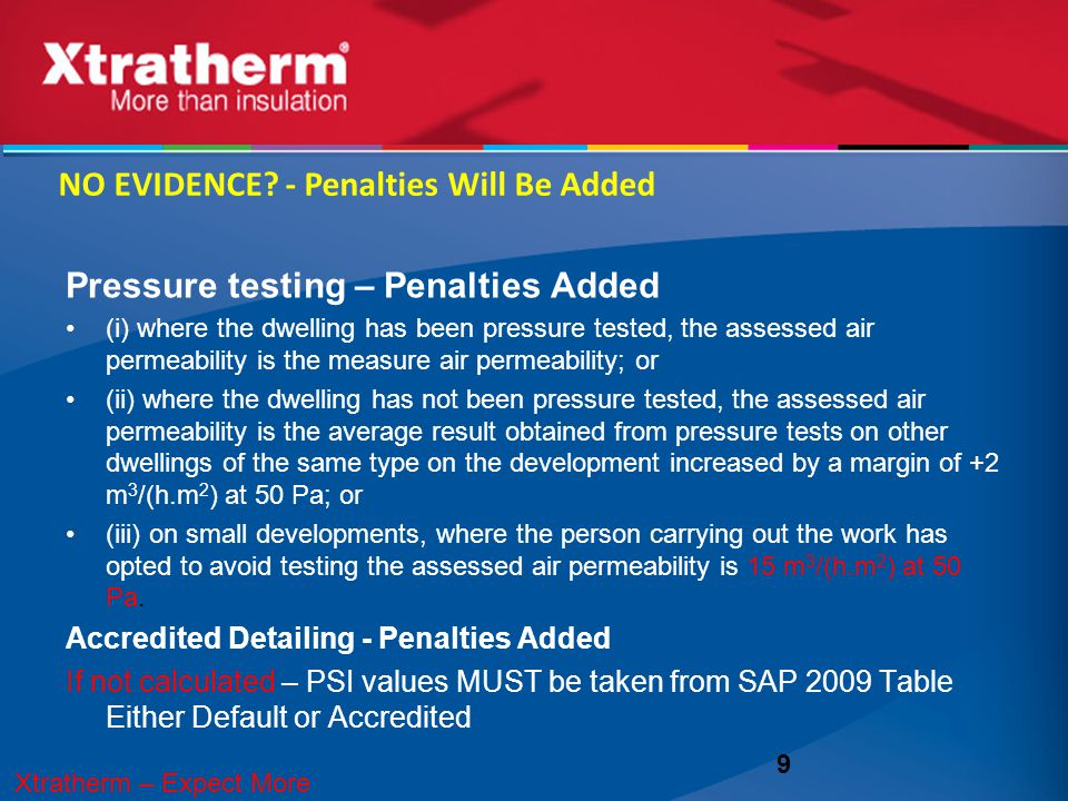 Pressure testing – Penalties Added (i) where the dwelling has been pressure tested, the assessed air permeability is the measure air permeability; or