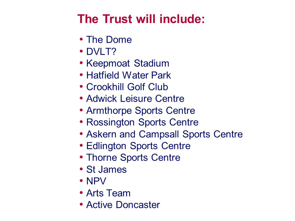 The Dome DVLT? Keepmoat Stadium Hatfield Water Park Crookhill Golf Club Adwick Leisure Centre Armthorpe Sports Centre Rossington Sports Centre Askern