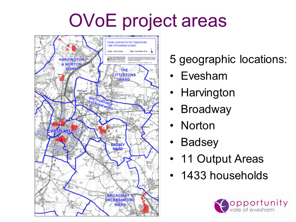 OVoE project areas 5 geographic locations: Evesham Harvington Broadway Norton Badsey 11 Output Areas 1433 households