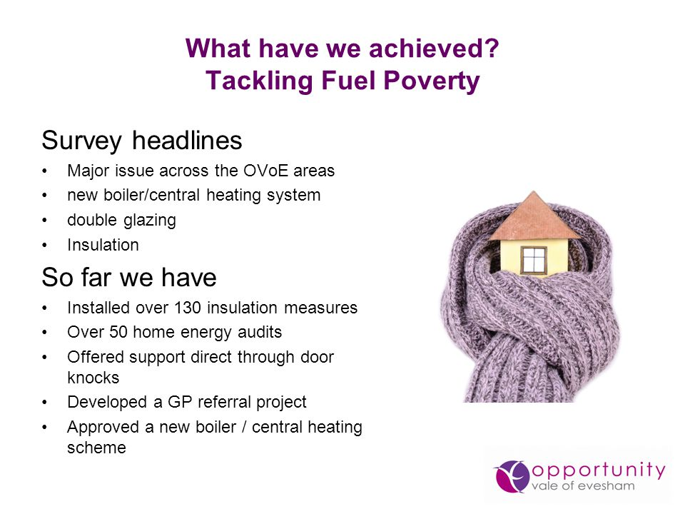 What have we achieved? Tackling Fuel Poverty Survey headlines Major issue across the OVoE areas new boiler/central heating system double glazing Insul